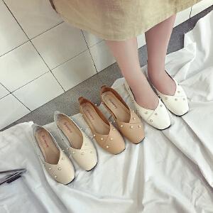 豆豆鞋女韩版百搭学生原宿2017秋季新款平底鞋女一脚蹬乐福鞋单鞋(偏小一码)