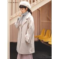 韩版流行毛呢大衣秋冬女2019新款粉色宽松甜美中长款学生呢子外套