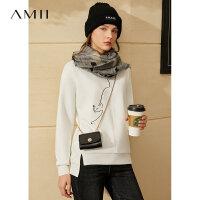 【到手价:110元】Amii极简减龄猫咪印花加绒卫衣秋冬新款宽松圆领白色长袖上衣潮女