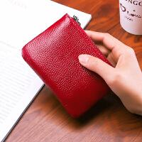 女士钱包短款新款韩版粉色可爱2折头层牛皮学生小钱夹