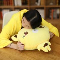可爱猫咪暖手抱枕插手两用被子毛绒玩具捂手枕冬季布娃娃女孩礼物