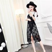 2018新款气质吊带裙+T恤连衣裙温柔仙女裙 蕾丝俏皮套装女两件套