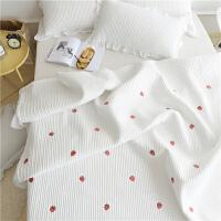 ins风韩国可水洗床盖三件套夹棉床单绗缝被套四件套床盖单件褥子