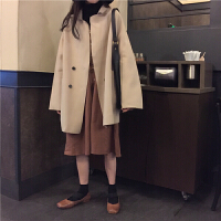 韩观2018秋冬女装韩版宽松中长款BF风毛呢外套薄款呢子大衣气质风衣 均码