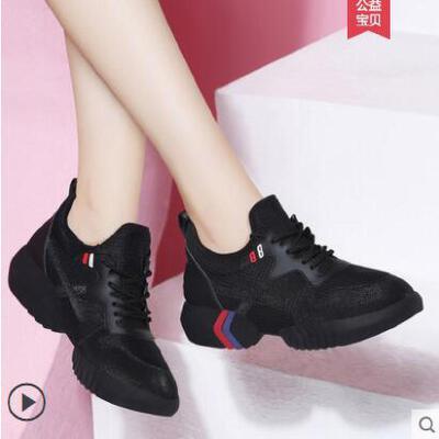 内增高女鞋户外新品新款休闲鞋韩版软底平底鞋百搭黑色女士运动鞋 品质保证 售后无忧