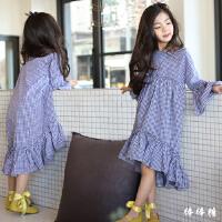 韩国女童格子长袖连衣裙2018春款中大童鱼尾裙甜美公主裙儿童长裙