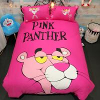 卡通粉红豹床上四件套公主风儿童小猪佩奇床单被套1.5m
