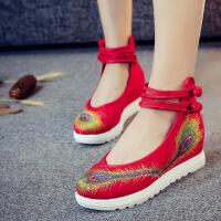 春季新款老北京布鞋女平底红色绣花鞋坡跟鞋休闲民族风女鞋子