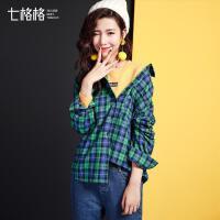 七格格2017秋装新款韩版宽松bf风chic中长款格子长袖衬衫女潮