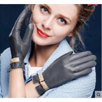 精美气质五指全指保暖羊皮触屏加绒开车时尚短款手套真皮手套女式