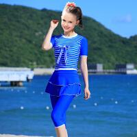 新款儿童泳衣防晒游泳衣女儿童少女大童泳衣女 学生女童泳衣分体 蓝色 海军条