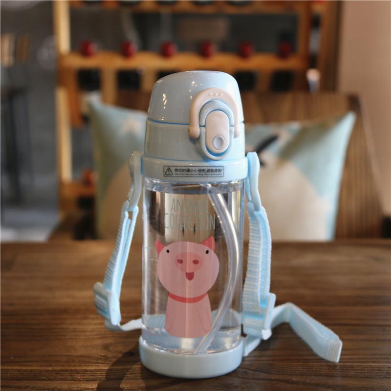 卡通动物萌宠儿童水杯可爱塑料杯幼儿园吸管杯宝宝双手柄学饮杯子 蓝色小猪/450ml 单盖 带背带 现货