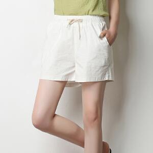 夏季新款宽松棉麻短裤休闲松紧腰糖果色大码女裤亚麻热裤