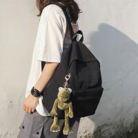 风书包女韩版高中大学生简约百搭双肩背包校园简森系少女帆布 黑色 青蛙挂件
