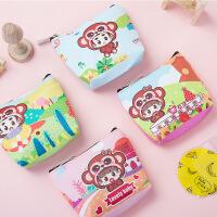 韩国创意卡通女式可爱PU零钱包动物猴子小钱包收纳包钥匙包