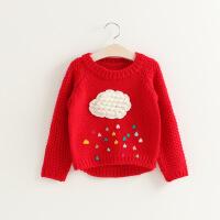 2018秋冬新款童装 韩版女童卡通云朵雨滴套头毛衣儿童粗织毛线衫