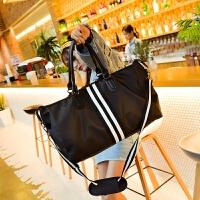 短途旅行包女手提行李包韩版大容量轻便简约旅行袋单肩包健身包男 黑色