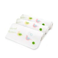 纱布口水巾婴儿毛巾宝宝纱布巾方巾小手帕3条