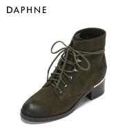 达芙妮 冬款方跟绒面系带率性休闲女靴1