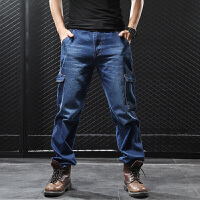 猎豹龙秋季多口袋牛仔裤男士宽松直筒长裤加肥加大码胖子工装裤男 牛仔蓝