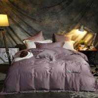 家纺床上用品家用礼品60s兰精天丝纯色刺绣四件套床单款 加大:被套:2.2*2.4 床单2.5*2.7 枕