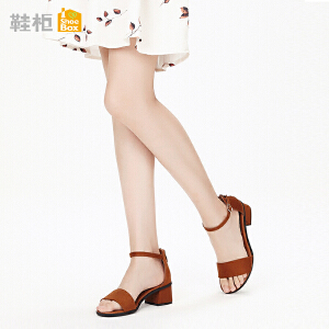 Daphne/达芙妮 鞋柜2018夏季新款杜拉拉女鞋一字扣绑带凉鞋女粗跟高跟鞋