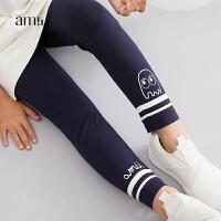 AMII女中大儿童打底裤2018秋季新款韩版时尚外穿长裤子运动休闲