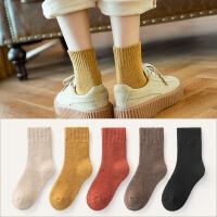 袜子女秋冬中筒袜加绒加厚保暖长筒月子毛巾地板睡眠冬天棉袜