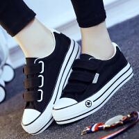 匡王秋魔术贴帆布鞋女松糕跟黑色布鞋韩版女鞋休闲鞋平跟鞋子学生板鞋