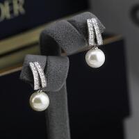 纯银针珍珠气质耳环简约百搭长款吊坠个性耳钉耳坠短款耳饰女