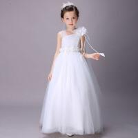 儿童蓬蓬裙花童裙 公主裙主持人礼服长裙女童婚纱裙 白色