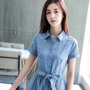 RANJU然聚 2018夏季女装新品新款棉麻连衣裙女短袖韩版中长款显瘦刺绣小清新裙子