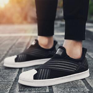 【满200减20/满300减30】Q-AND/Q-AND/奇安达2018新款男士轻便透气防滑套脚平底休闲校园板鞋