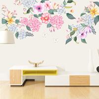 清新花卉墙贴卧室客厅温馨墙纸自粘房间装饰贴纸贴画自粘墙贴 墙贴画墙贴3D立体<工笔画清新花朵(新拼版) 墙贴3D立体墙
