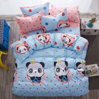 床单单件大学生宿舍单人三件套床上用品棉被单2被套1.2米1.5m床 浅蓝色 熊猫宝宝