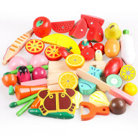 男孩新木城切水果玩具儿童木制磁性蔬菜切切乐宝宝木质仿真过家家套装 益智启蒙早教 磁性28件套桶装切切看
