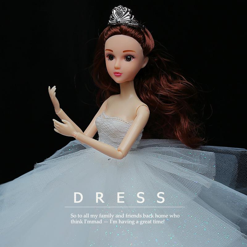 女孩公主豪华拖尾长裙中国新娘芭比娃娃玩具礼物芭比娃娃婚纱套装 3D真眼  婚庆生日礼物