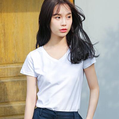 夏季新品韩版百搭纯色修身V领短袖T恤女棉显瘦女装短袖女潮