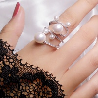 珍珠戒指女食指日韩潮人学生网红韩版潮个性时尚装饰品夸张大指环