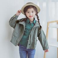 风衣中大童春装儿童洋气上衣 女童外套春秋装2018新款韩版女孩长袖