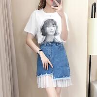 时尚连衣裙女2018夏装新款印花网纱T恤牛仔不规则半身裙两件套装 图片色