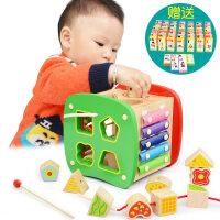 婴幼儿童穿珠子女孩男宝宝力早教1-2-3岁6串珠子玩具穿线积木