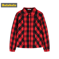 【4折价:43.6】巴拉巴拉童装女童衬衫中大童儿童秋装2018新款格纹英伦风长袖衬衣