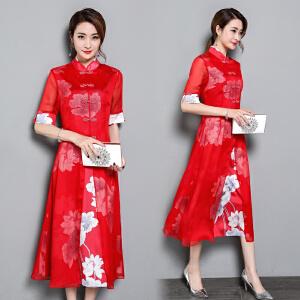 RANJU然聚 2018夏季女装新品新款复古中式改良修身妈妈时尚中长款旗袍式连衣裙女