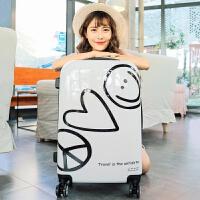 韩版拉杆箱20寸迷你少女学生行李箱男密码登机旅行箱24可爱小清新 白色 笑脸