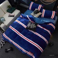 家纺冬季法莱绒四件套加厚保暖珊瑚绒加绒床单被套床上三件套潮男1.5m