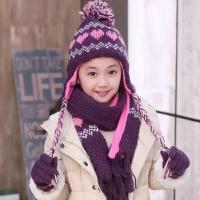 儿童冬厚实加绒护耳帽 女童中大童加厚保暖帽子围巾手套三件套装