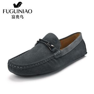 富贵鸟男鞋 时尚套脚休闲鞋男士豆豆鞋驾车鞋反绒皮男鞋
