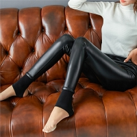 冬季紧身pu皮裤女加绒加厚外穿打底裤高腰小脚裤长裤子显瘦踩脚裤