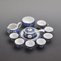 青花瓷功夫茶具套装家用白瓷茶具泡茶器茶壶茶杯整套 锦上添花福缘茶承12入